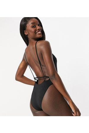 ASOS ASOS DESIGN tall recycled twist strappy low back swimsuit in black