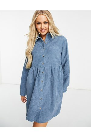 Missguided Cord long sleeve shirt smock dress in slate blue