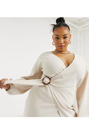 Fashion Union Dame Hverdagskjoler - Cosy mini wrap dress in brushed jersey-Neutral