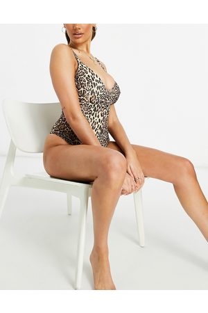 ASOS Fuller bust ribbed loop strappy back swimsuit in leopard print dd-g-Multi