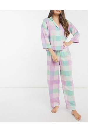 ASOS DESIGN Modal check long sleeve shirt & trouser pyjama set in multi