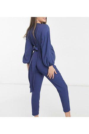ASOS ASOS DESIGN maternity kimono sleeve button through tea jumpsuit in blue