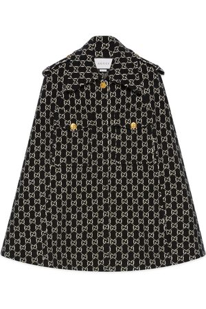 Gucci Dame Capes - Felted wool cape with GG jacquard