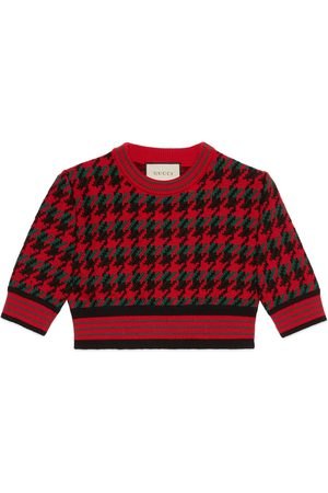 Gucci Houndstooth wool cropped jumper