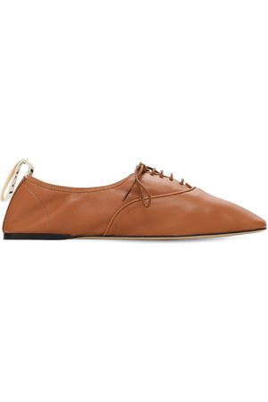 Loewe Dame Pensko - 10mm Soft Leather Lace-up Derby Flats
