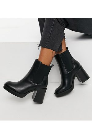 Public Desire Wide Fit Klara chunky heeled ankle boots in black