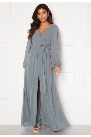 Goddiva Long Sleeve Chiffon Dress Air Force Blue M (UK12)