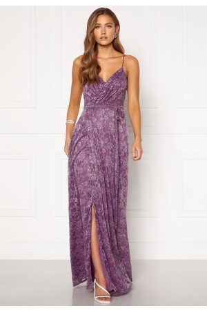Goddiva Dame Maxikjoler - Lace Wrap Maxi Dress Dusty Lavender XS (UK8)