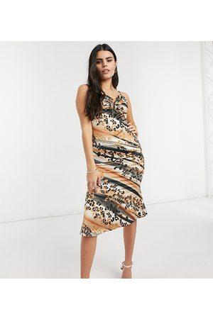 Outrageous Fortune Midi slip dress in animal print-Multi