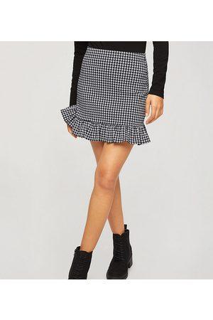 Miss Selfridge Bengaline frill detail mini skirt in houndstooth-Black
