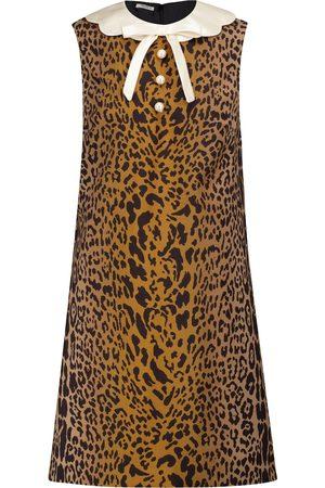 Miu Miu Leopard-print wool and mohair minidress
