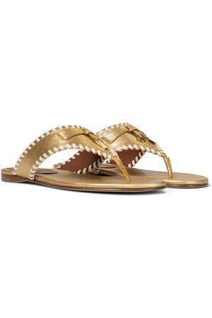 Loro Piana Jovis metallic leather thong sandals
