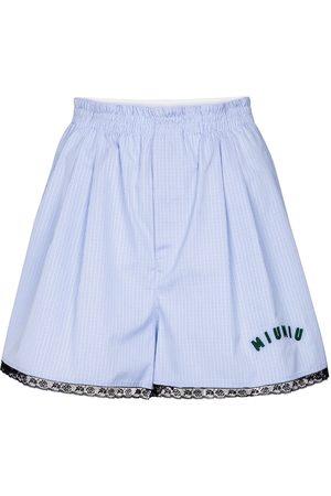 Miu Miu Checked cotton-poplin shorts