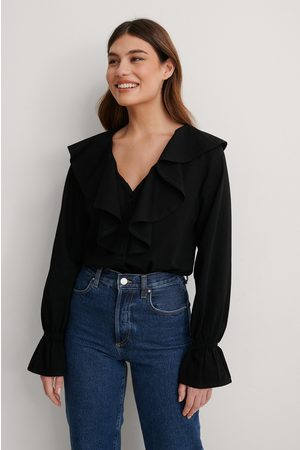 NA-KD Dame Denim - Denimskjorte Med Volanger
