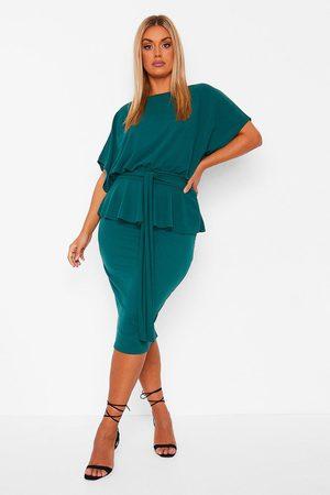 Boohoo Plus Slash Neck Peplum Dress