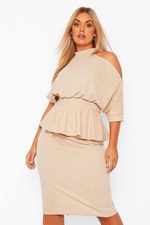 Boohoo Dame Festkjoler - Plus Open Shoulder Peplum Midi Dress