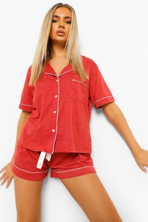 Boohoo Jersey Button Through PJ Short Set