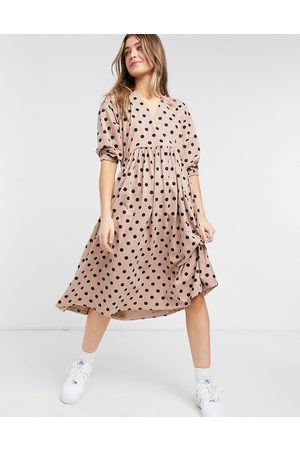 ASOS Midi smock dress with wrap top in mocha and black spot-Neutral