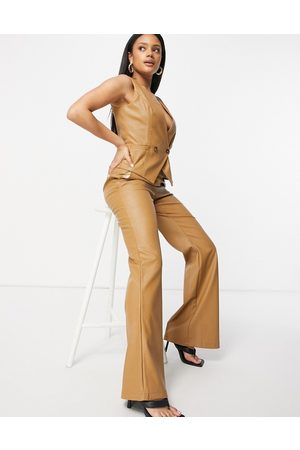 Unique 21 Highwaisted flared trousers-Tan
