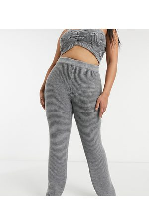 Skylar Rose Knitted wide leg trousers in textured knit co-ord-Grey