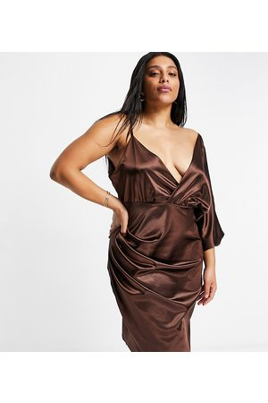 Jaded Rose Plus Wrap midaxi satin dress in chocolate brown