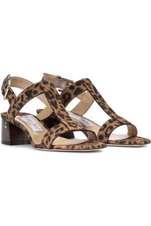 Jimmy Choo Dame Sandaler - Jin 45 leopard-print suede sandals