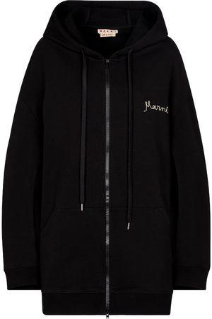 Marni Dame Hettegensere - Logo cotton jersey hoodie