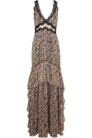Costarellos Farah tiger-print chiffon gown