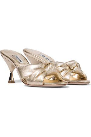 Miu Miu Dame Sandaler - Metallic leather sandals
