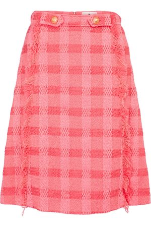Etro High-rise checked wool-blend midi skirt