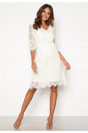 Happy Holly Dame Midikjoler - Jenna lace dress White 46