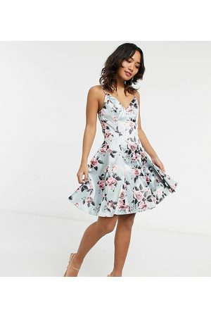 Chi Chi London Structure mini prom in floral-Pink