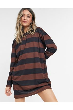 ASOS Oversized long sleeve t-shirt dress in chocolate brown and black stripe