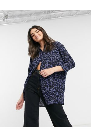 ASOS Oversized long sleeve shirt in blue animal-No Colour
