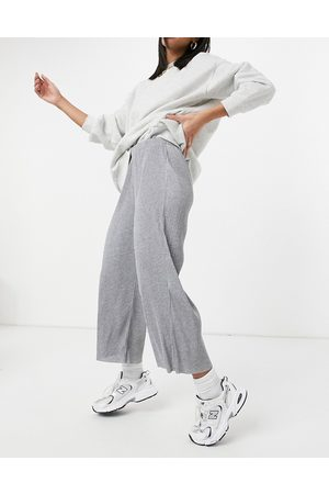 ASOS Plisse culotte trousers in grey marl