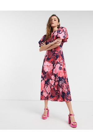 NA-KD Open back puff sleeve midi dress in pink floral-Multi
