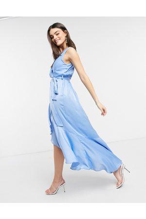 Flounce London Satin wrap front midaxi dress in powder blue-Green