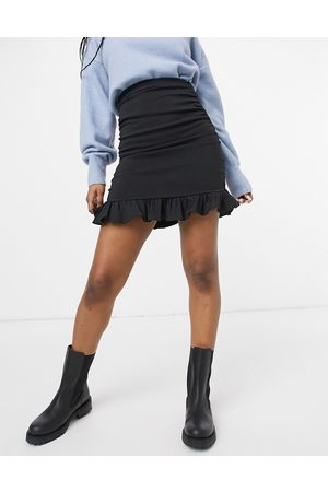 ASOS Bengaline mini skirt with ruched side in black