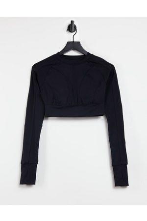 Steele Seam detail slim long sleeve top in black