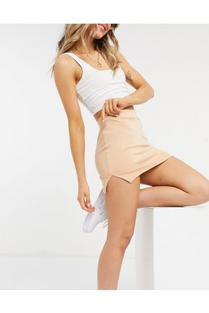 Unique 21 Knitted mini skirt with splits in blush-Pink