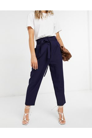 ASOS Tailored tie waist tapered ankle grazer trousers-Navy