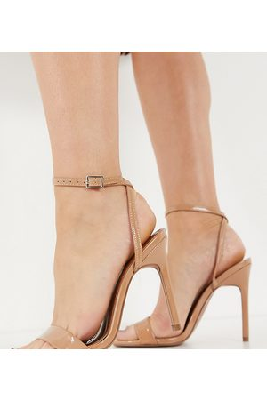 ASOS Wide Fit Nala barely there heeled sandals in -Neutral