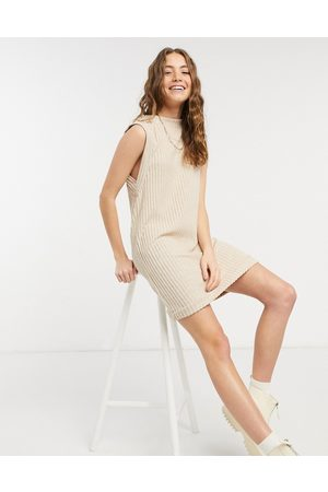 ASOS Dame Hverdagskjoler - Brushed rib sleeveless mini dress in camel