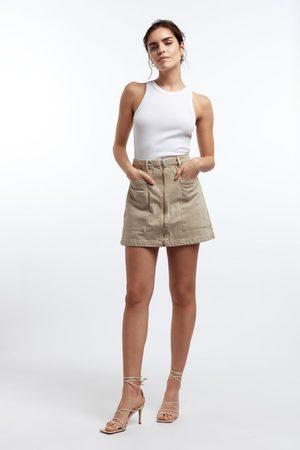 Gina Tricot Utility zip denim skirt
