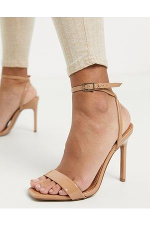 ASOS Nala barely there heeled sandals in patent-Neutral