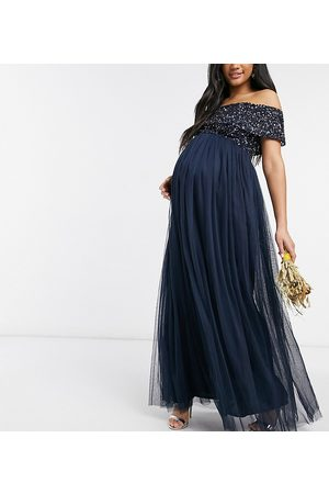 Maya Dame Festkjoler - Bridesmaid off shoulder maxi tulle dress with tonal delicate sequin in navy