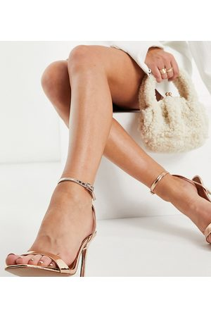 ASOS Wide Fit Nala barely there heeled sandals in rose gold