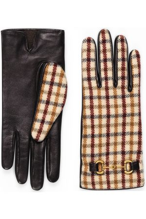 Gucci Dame Hansker - Check wool gloves with leather