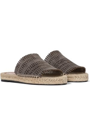 Alaïa Laser-cut leather espadrille sandals