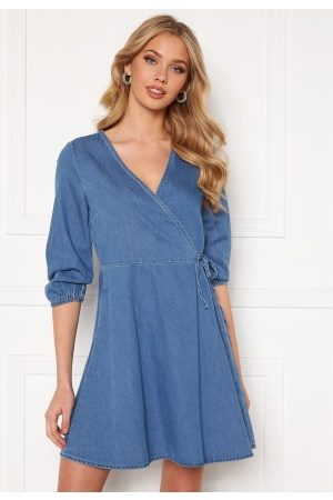 Vero Moda Henna 3/4 Wrap Dress Light Blue Denim L